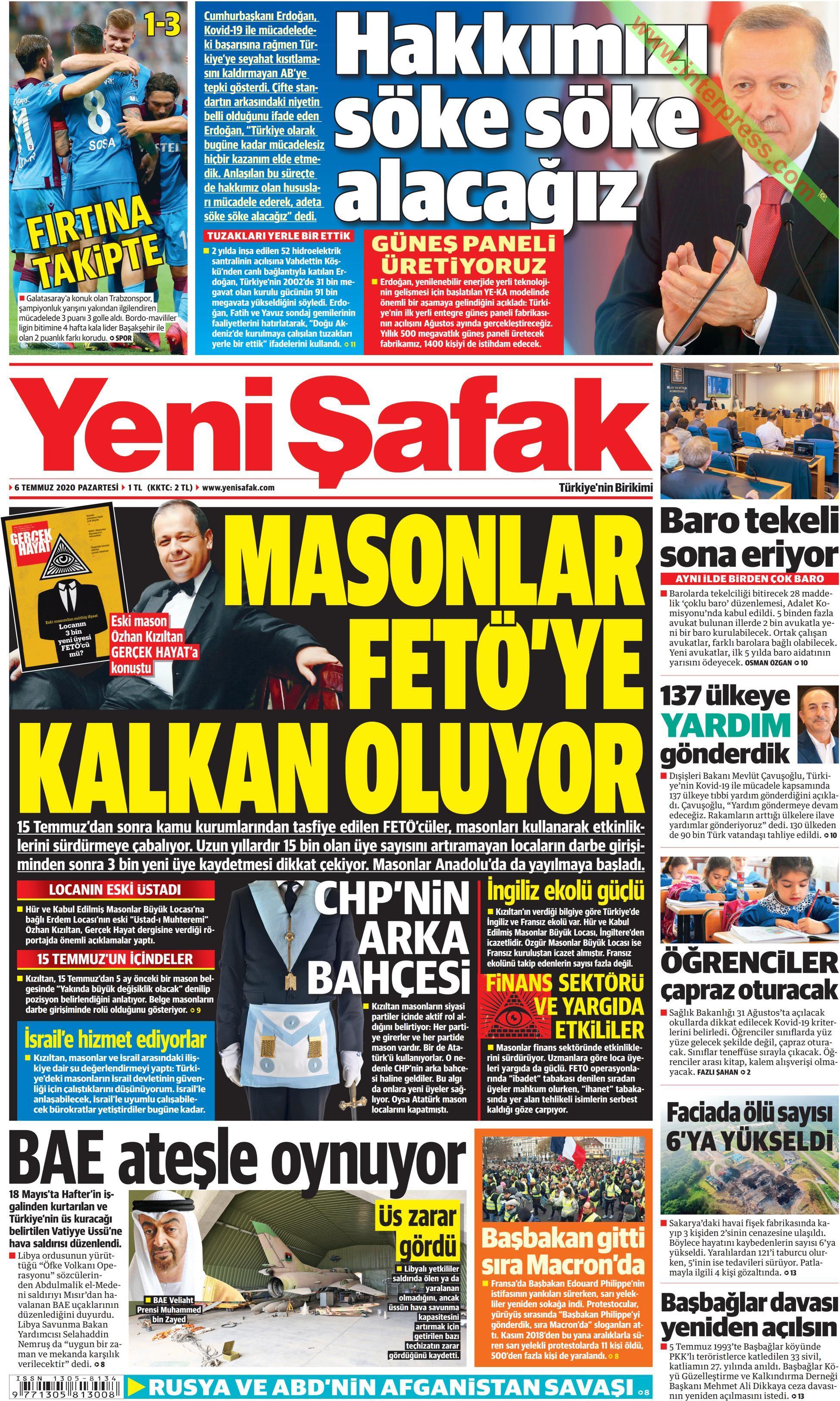 Yeni Şafak gazetesi manşet ilk sayfa oku
