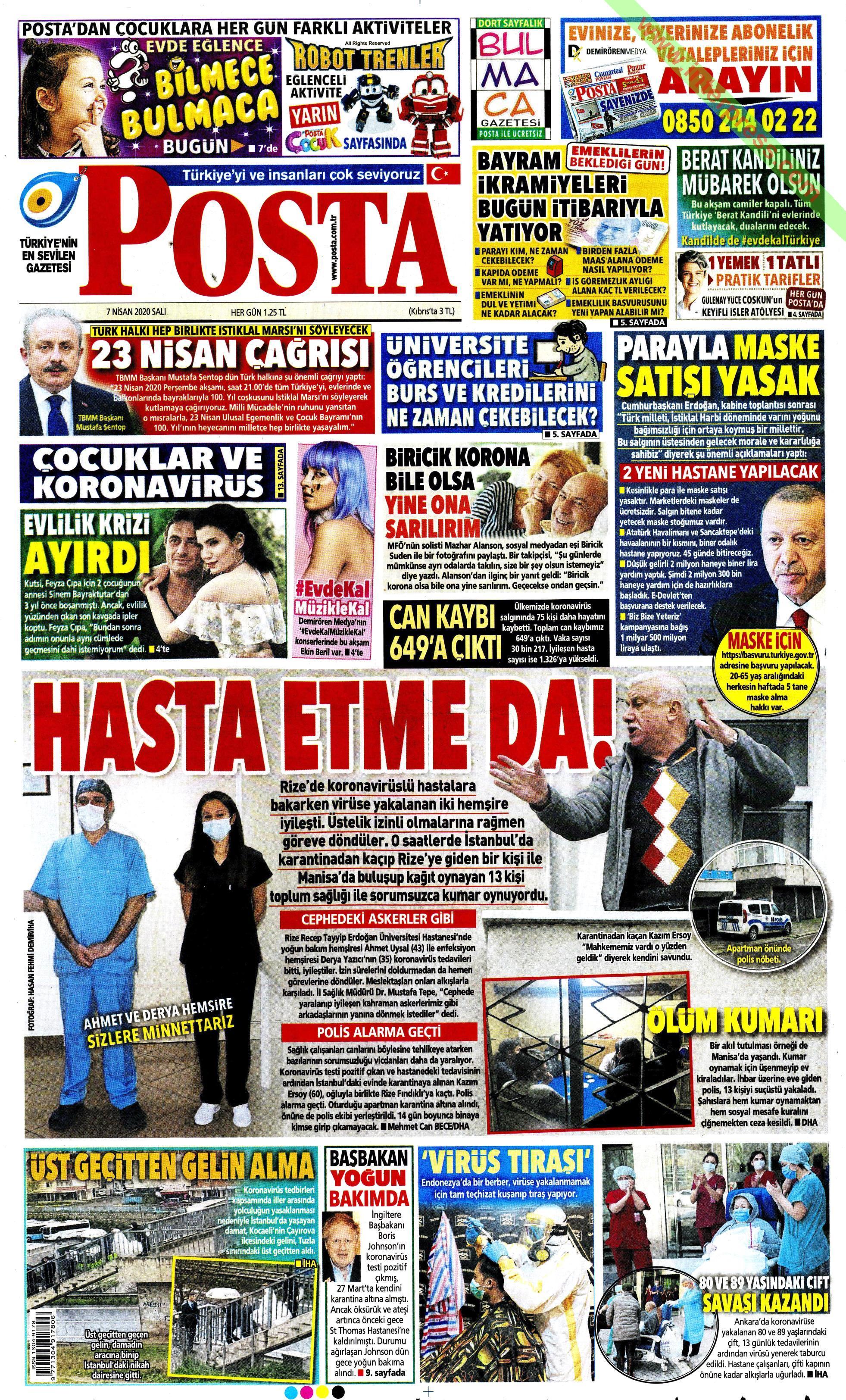 Posta gazetesi manşet ilk sayfa oku