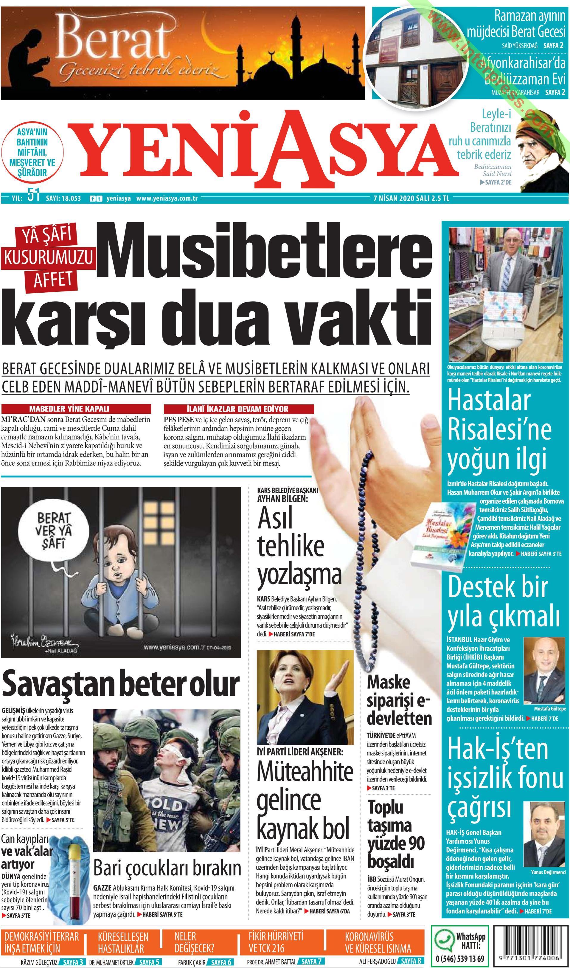 Yeni Asya gazetesi manşet ilk sayfa oku