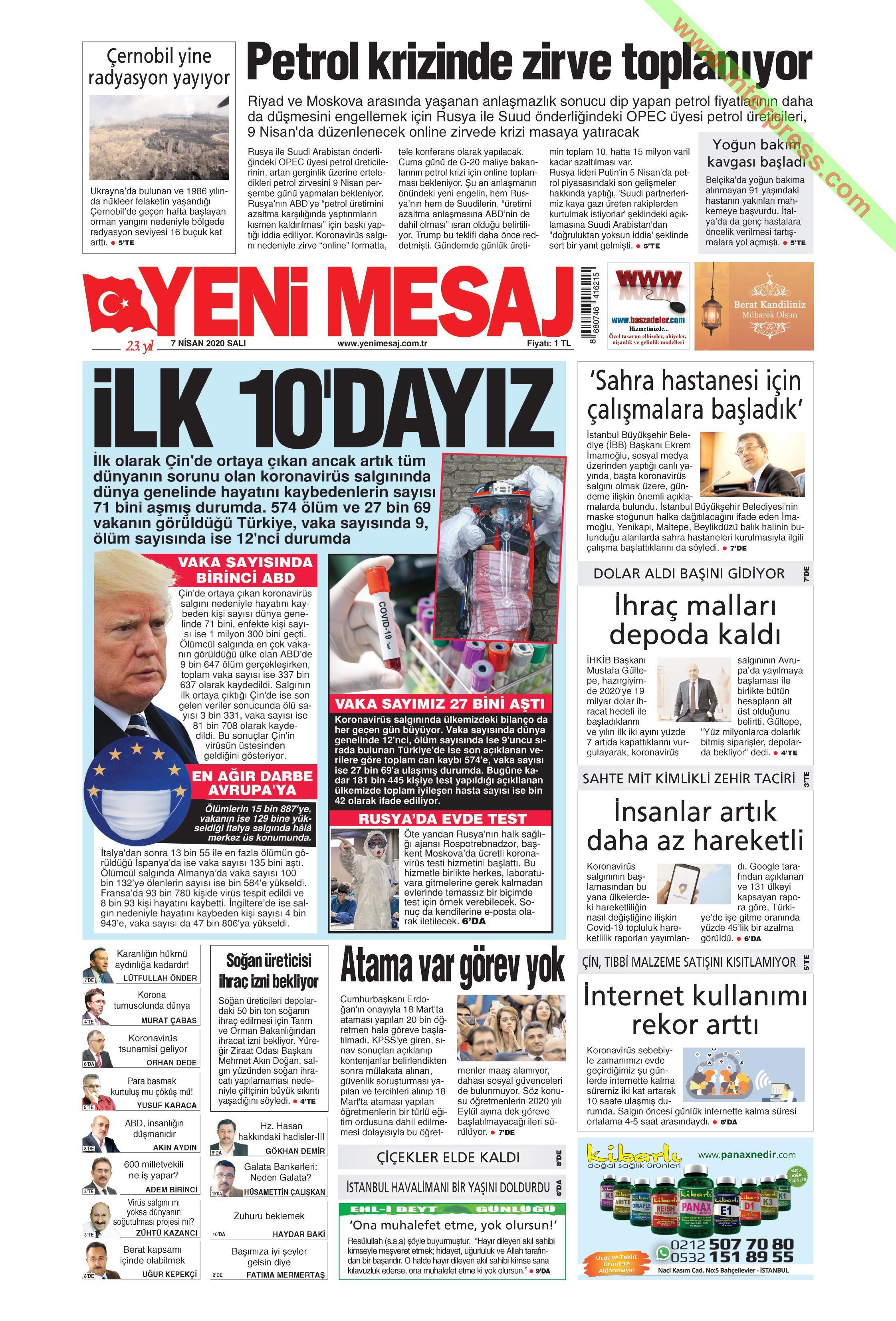 Yeni Mesaj gazetesi manşet ilk sayfa oku