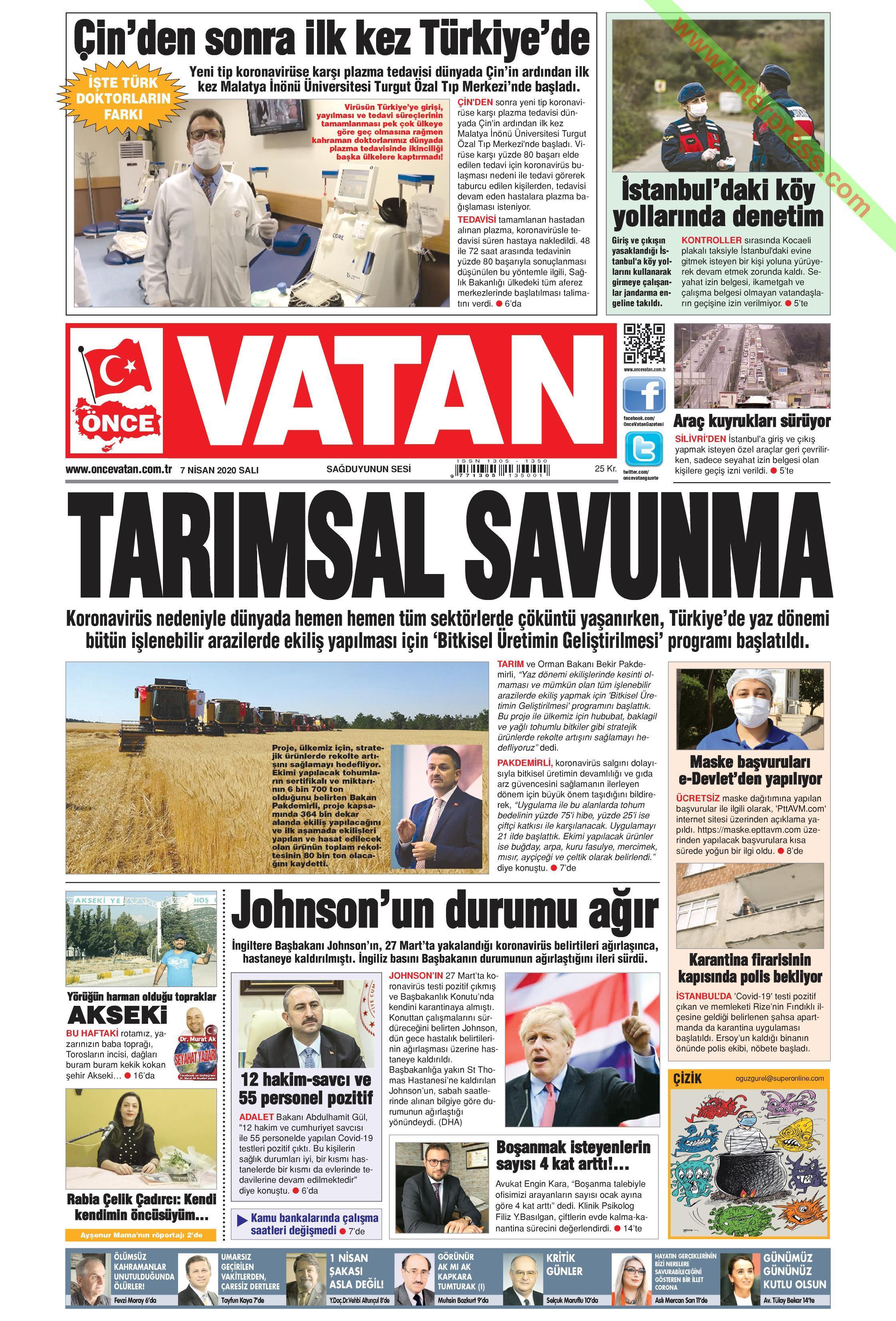 Önce Vatan gazetesi manşet ilk sayfa oku
