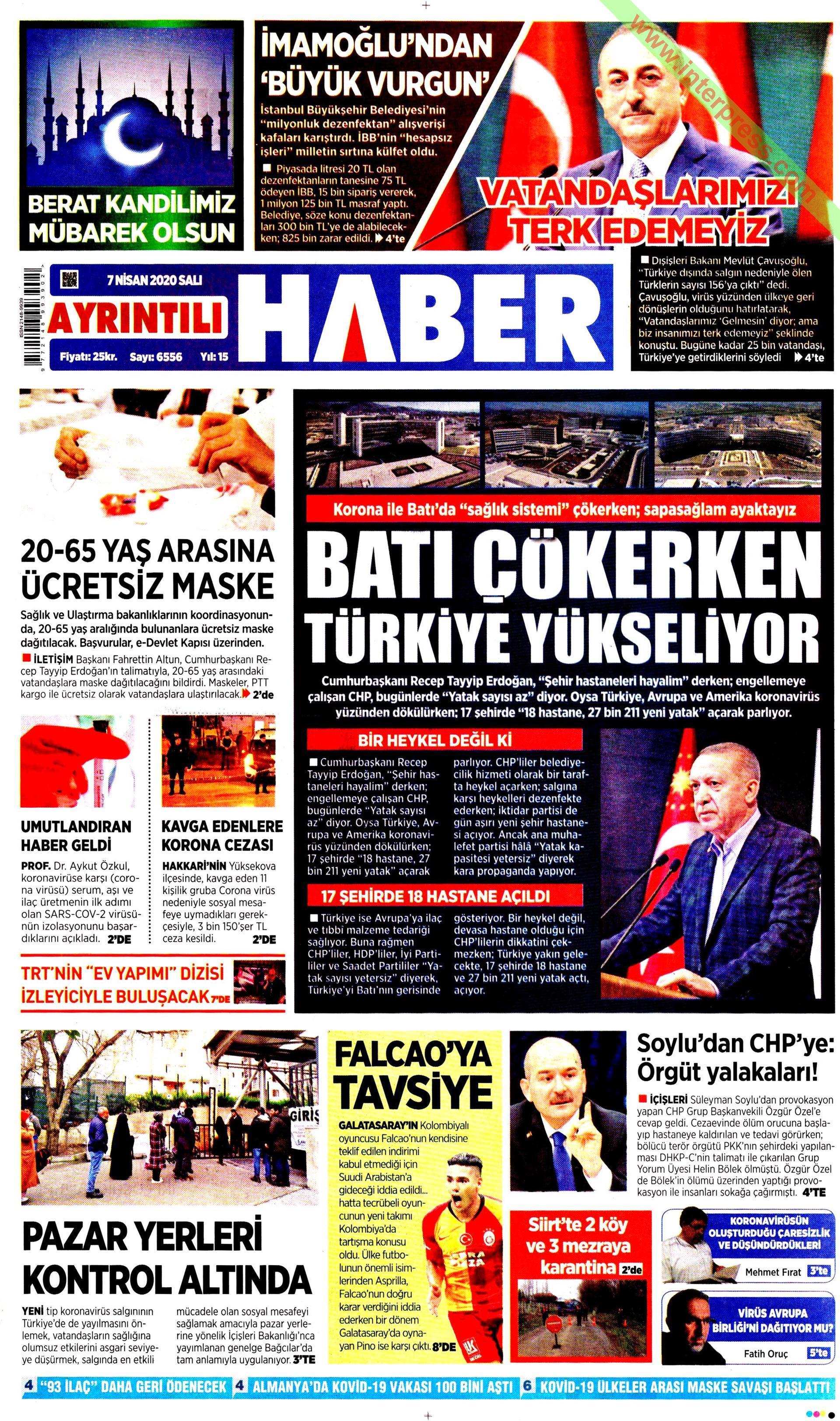 Ayrıntılı Haber gazetesi manşet ilk sayfa oku