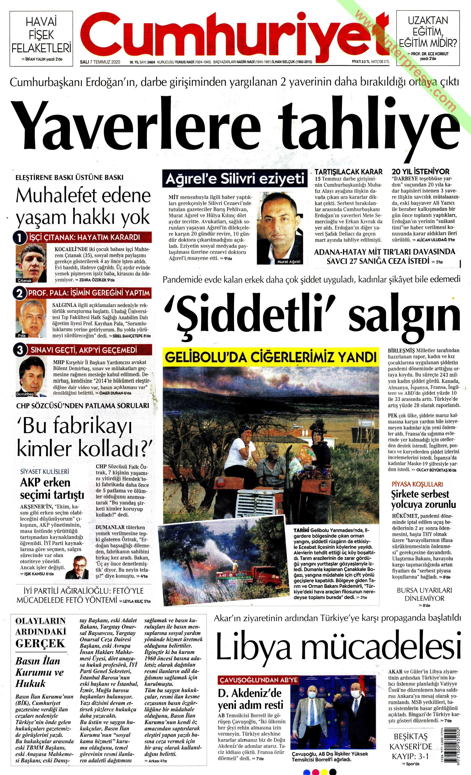 Cumhuriyet gazetesi manşet ilk sayfa oku