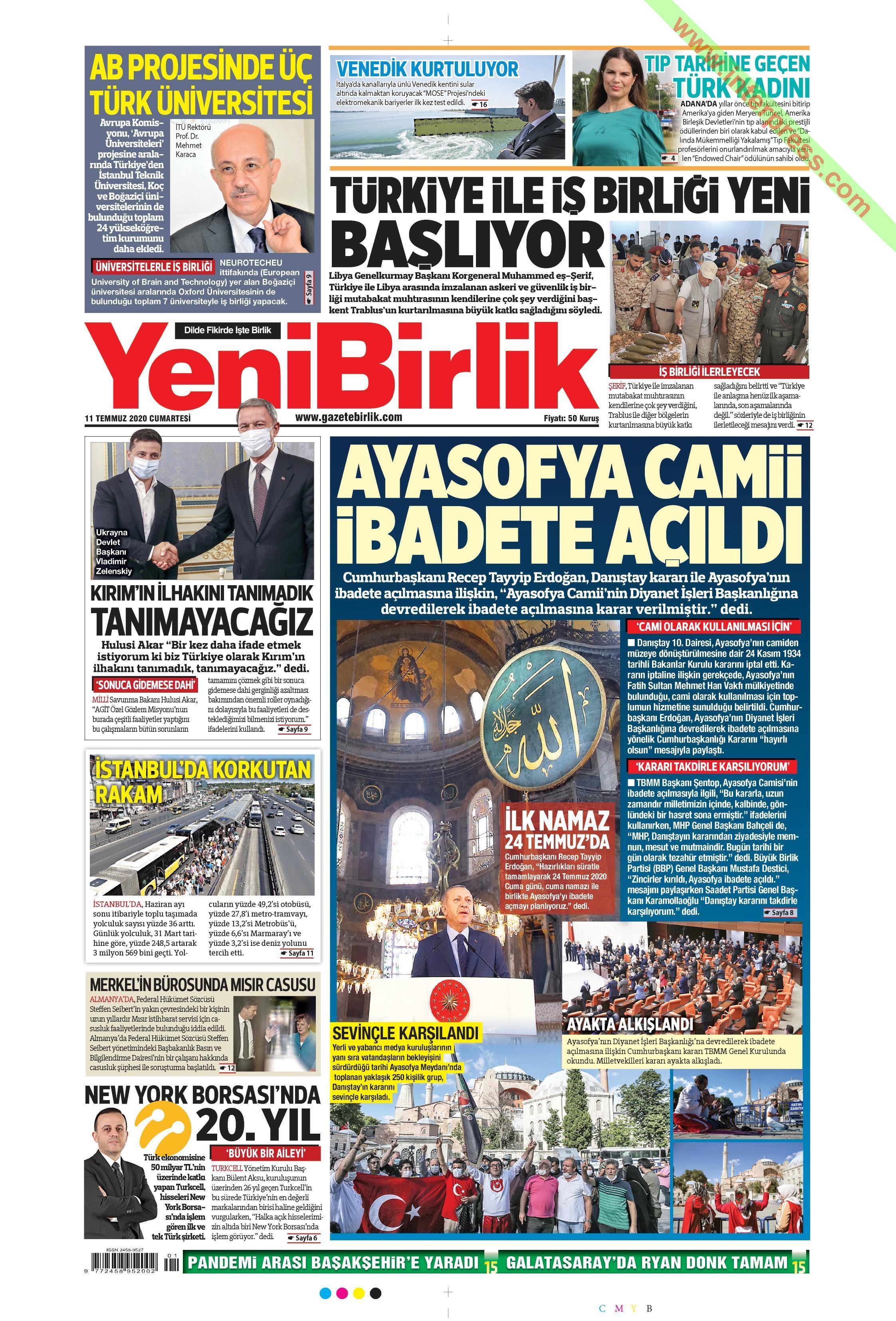 Yeni Birlik gazetesi manşet ilk sayfa oku