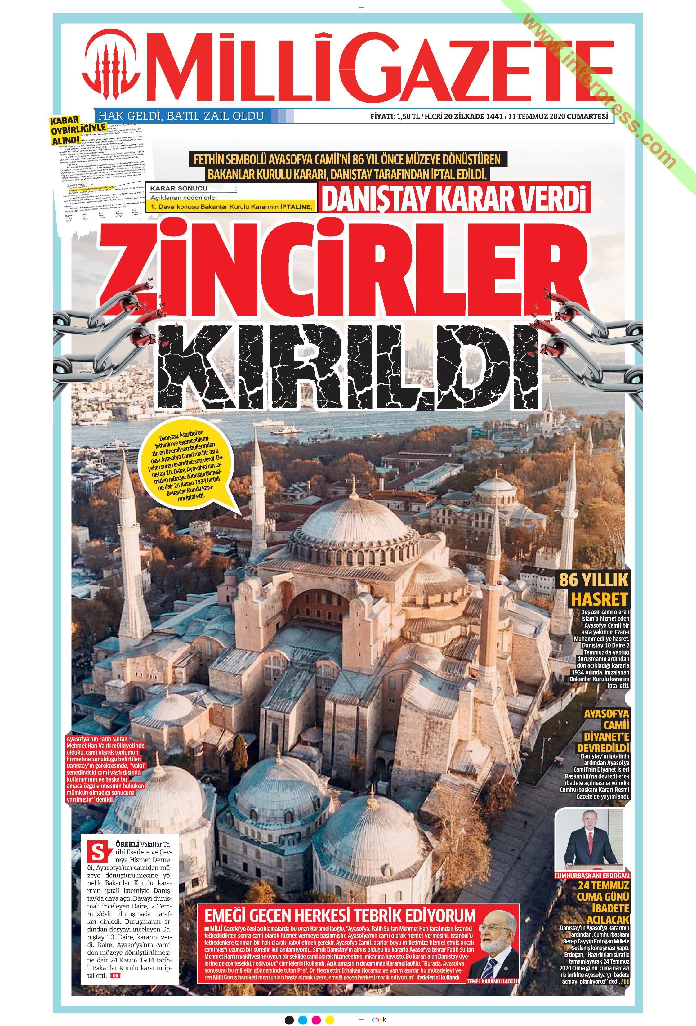 Milli Gazete gazetesi manşet ilk sayfa oku