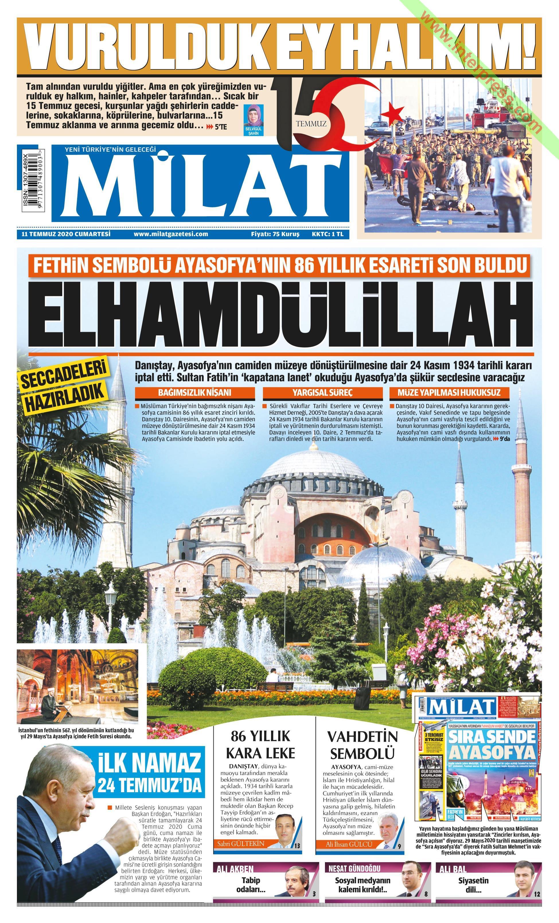 Milat gazetesi manşet ilk sayfa oku