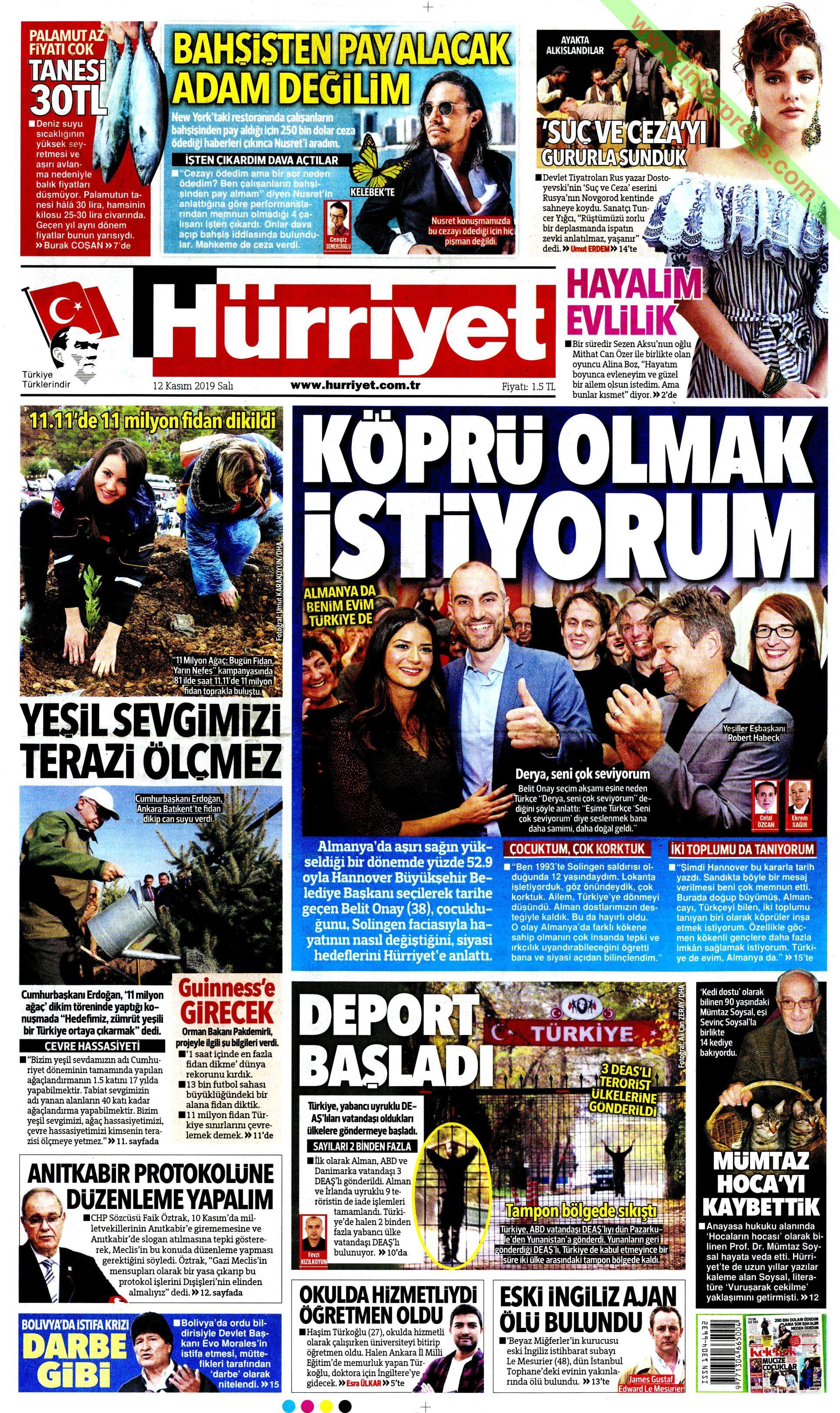 Hürriyet gazetesi manşet ilk sayfa oku