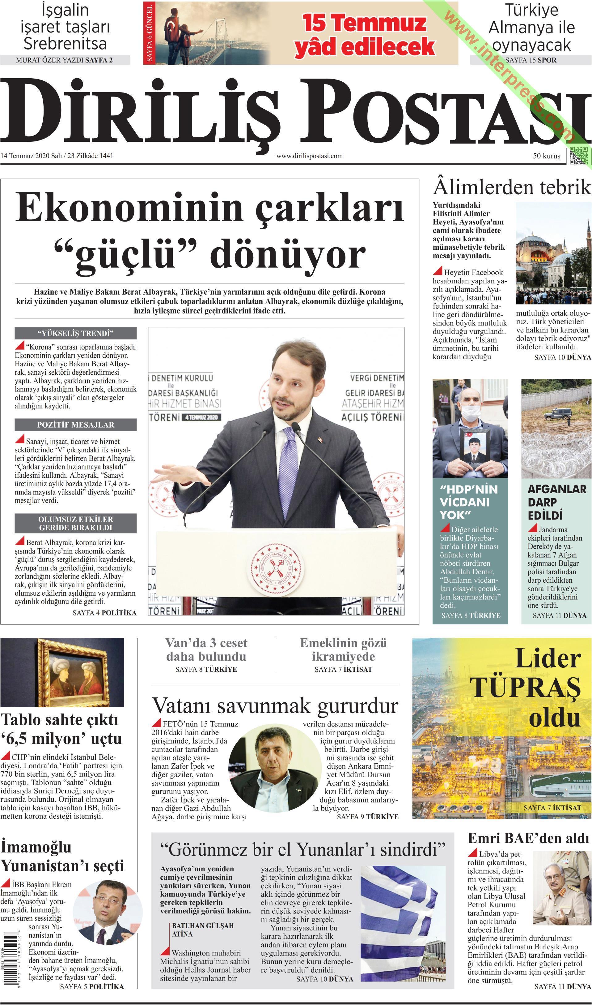 Diriliş Postası gazetesi manşet ilk sayfa oku