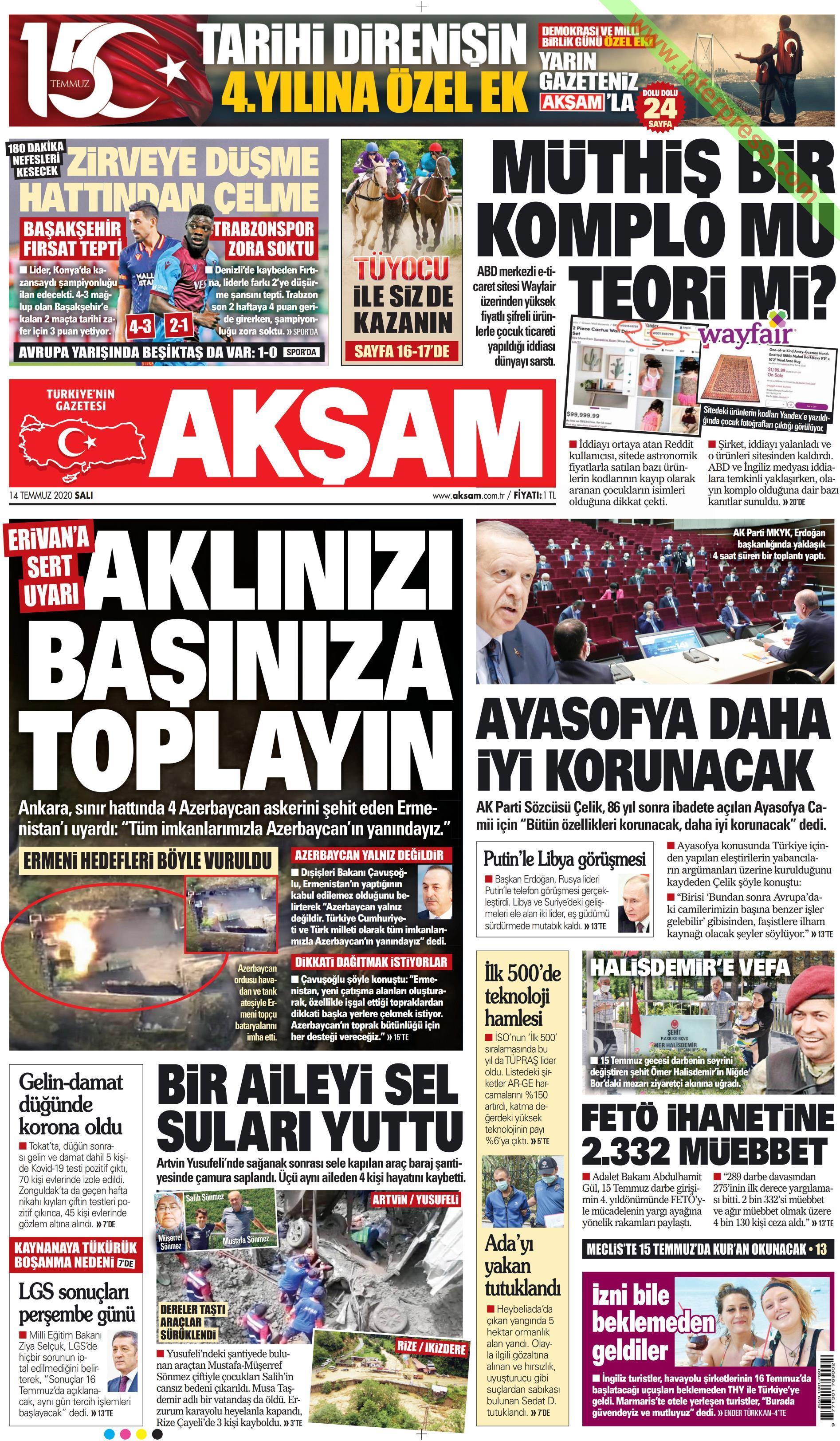Akşam gazetesi manşet ilk sayfa oku