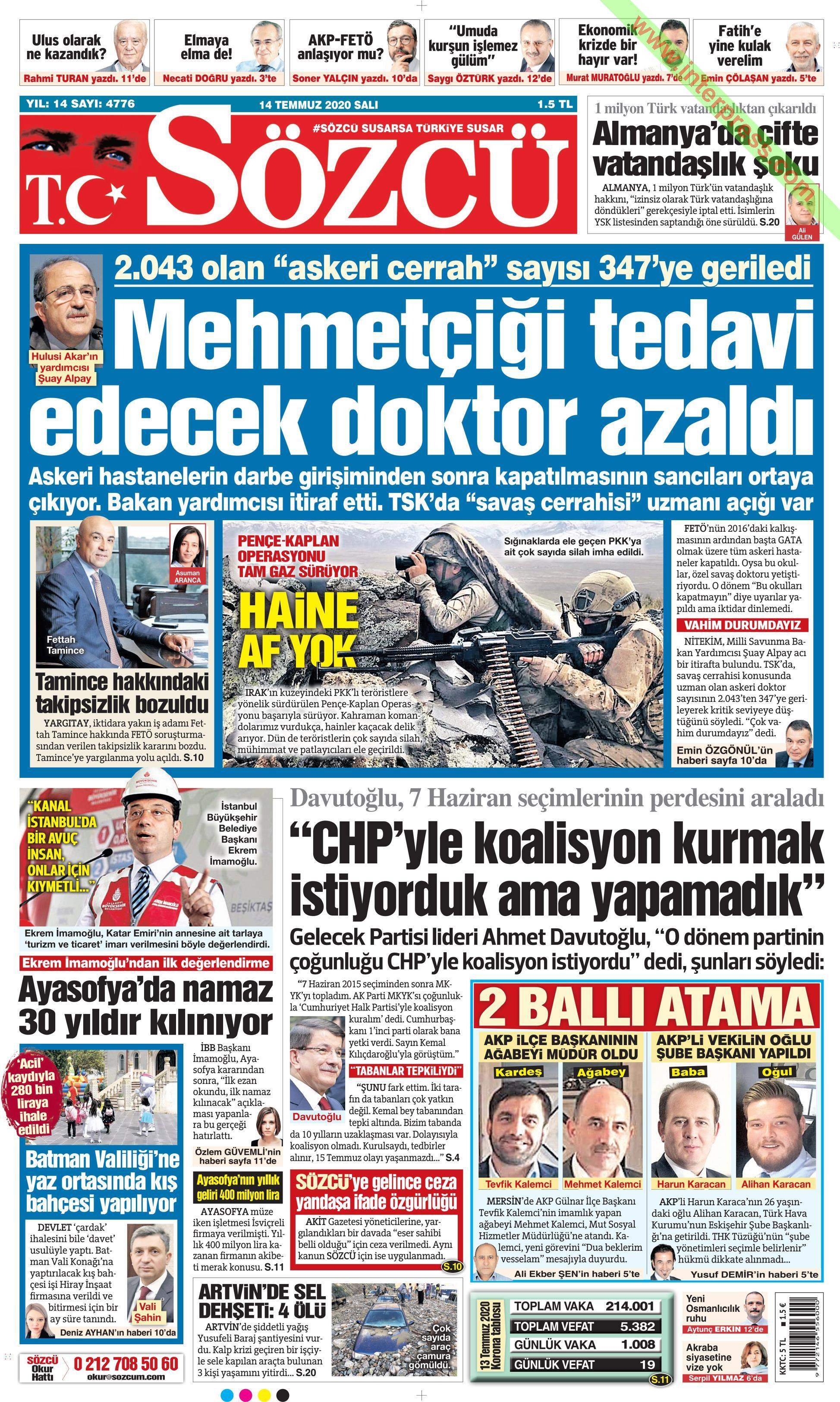 Sözcü gazetesi manşet ilk sayfa oku