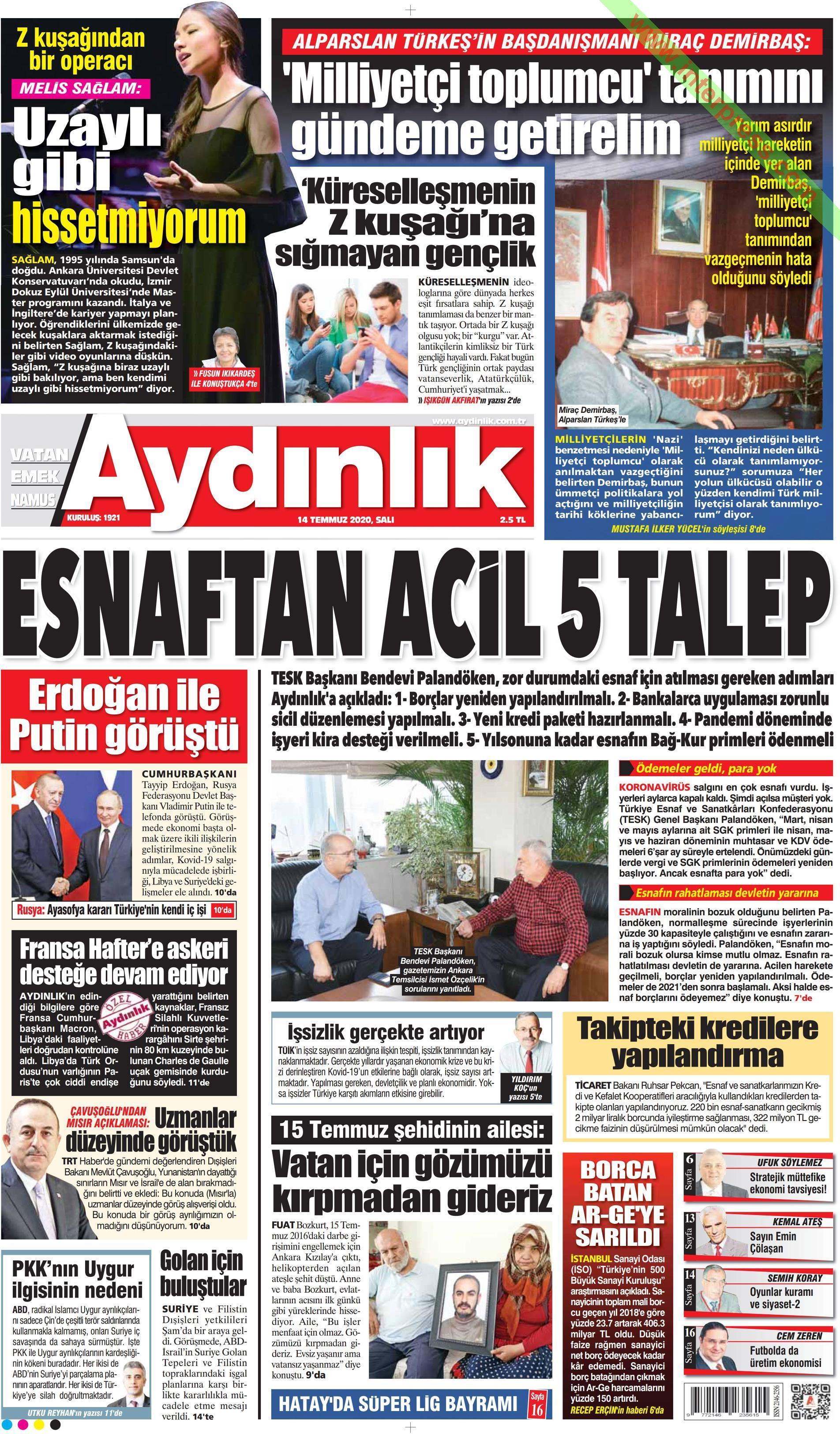 Aydınlık gazetesi manşet ilk sayfa oku