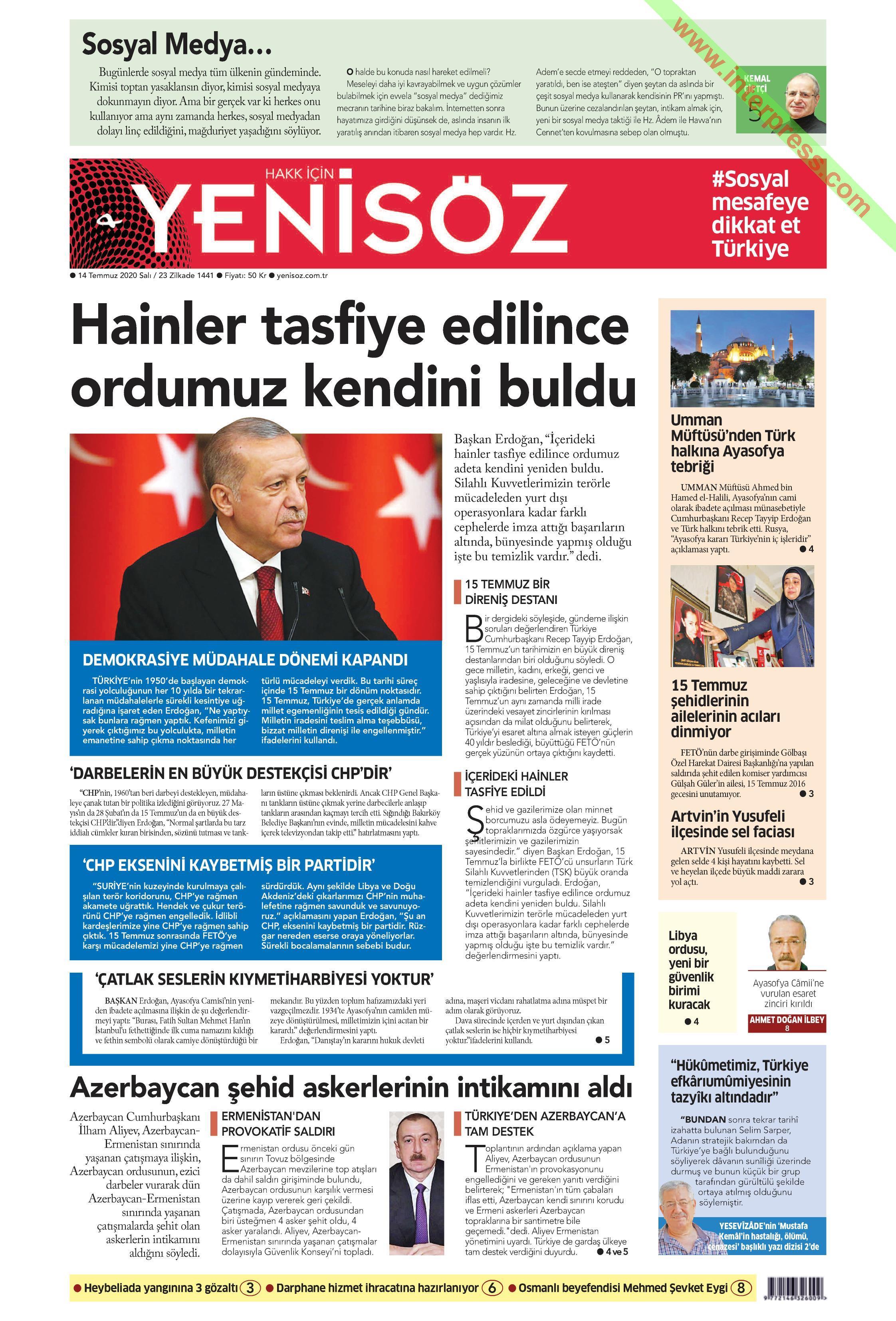 Yeni Söz gazetesi manşet ilk sayfa oku