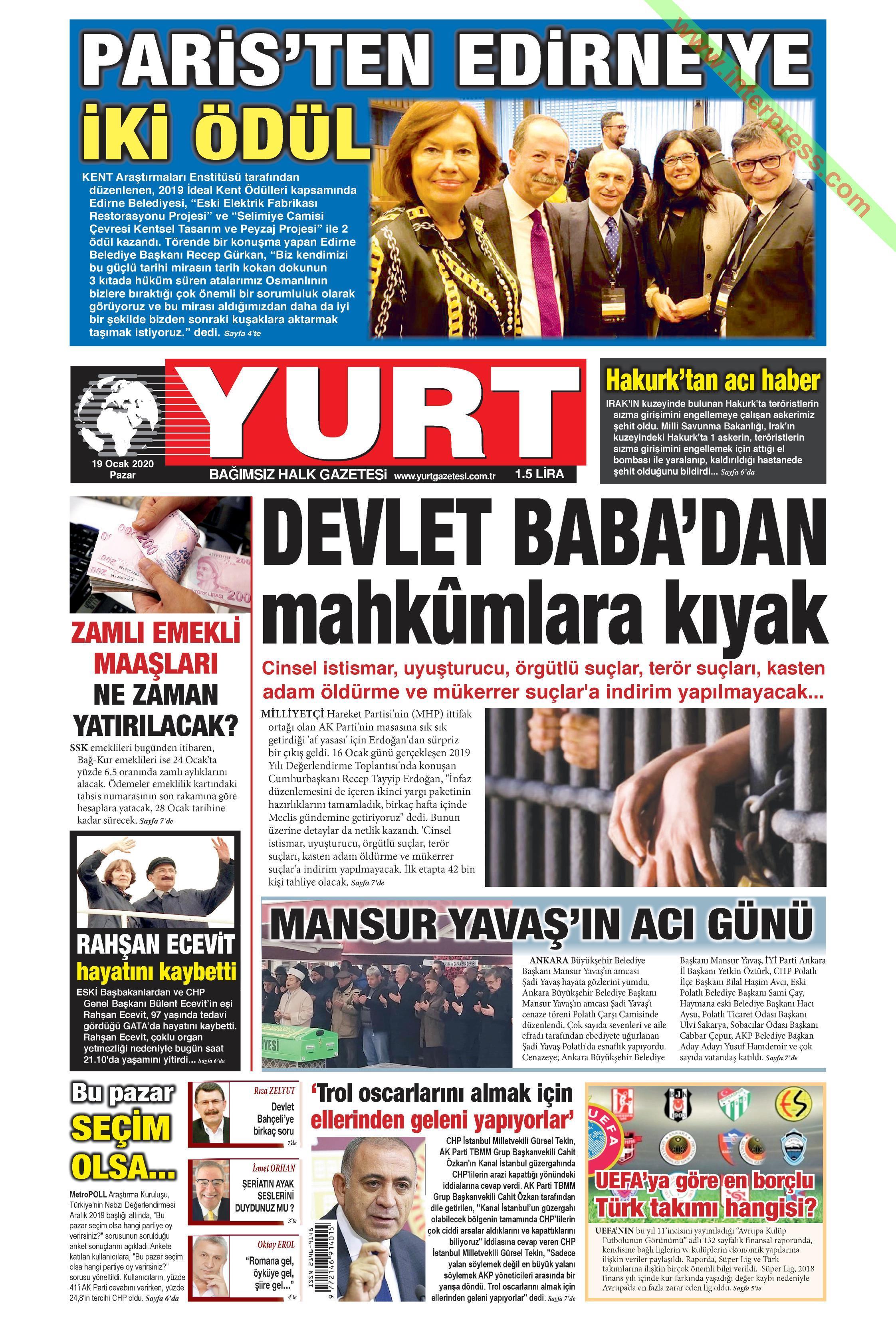 Yurt gazetesi manşet ilk sayfa oku