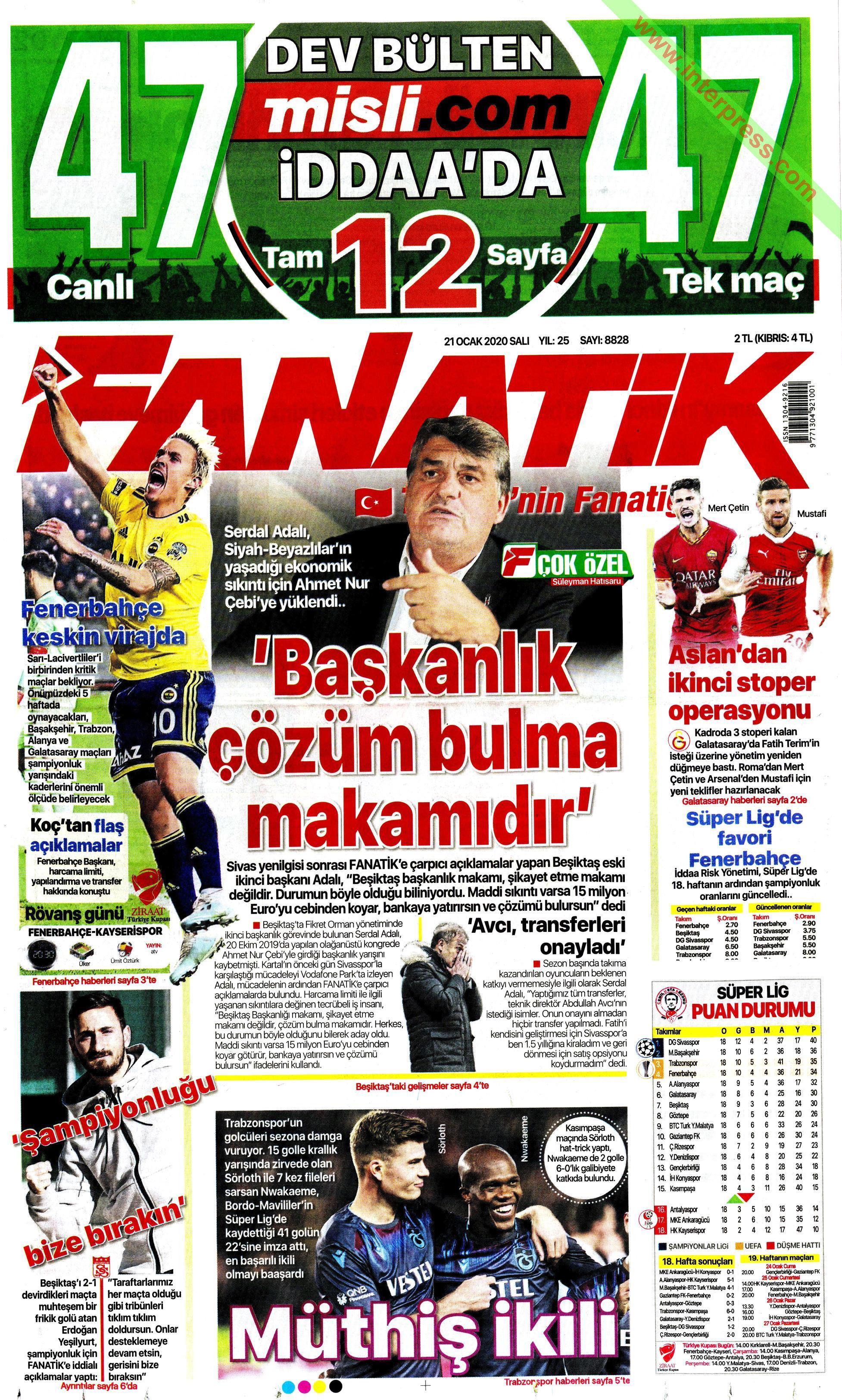 Fanatik gazetesi manşet ilk sayfa oku