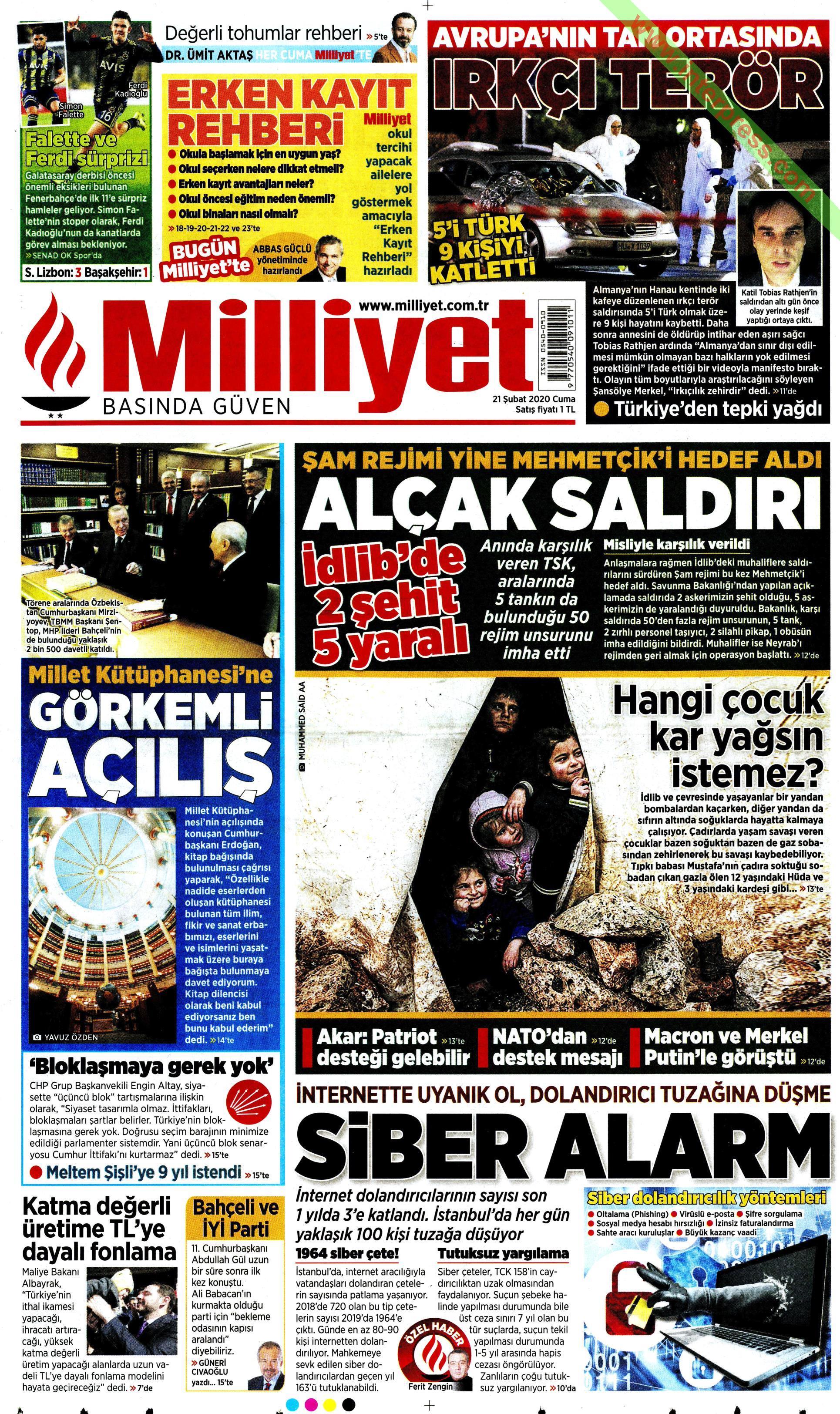 Milliyet gazetesi manşet ilk sayfa oku