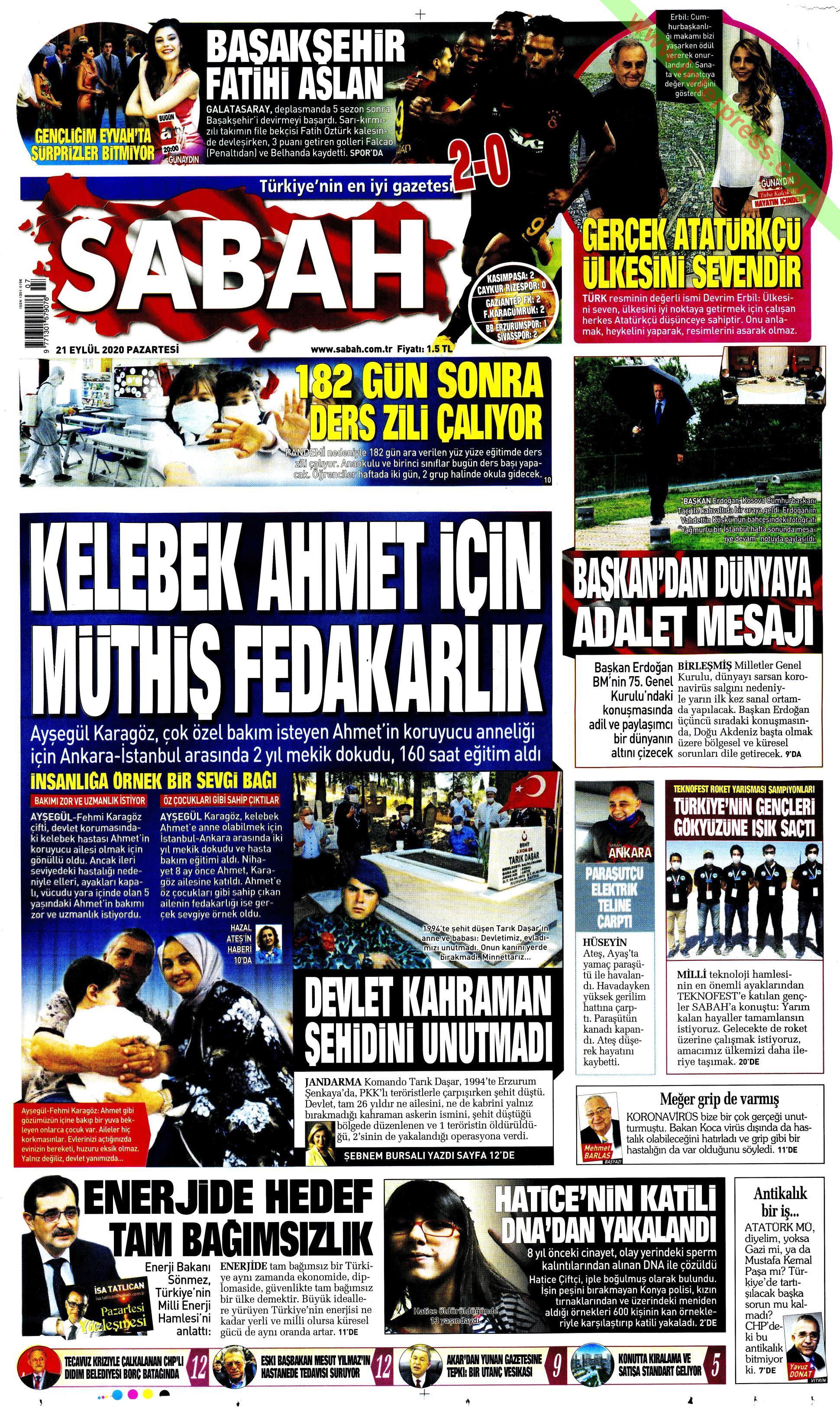 Sabah gazetesi manşet ilk sayfa oku